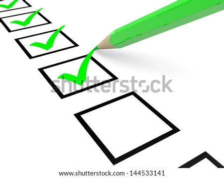 Check list. Green ticks in checkboxes and pencil. 3D illustration. - stock photo
