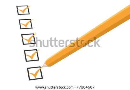 Check list. Orange with Pencil - stock photo