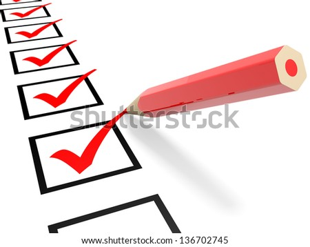 Check list. Red ticks in checkboxes and pencil. 3D illustration. - stock photo