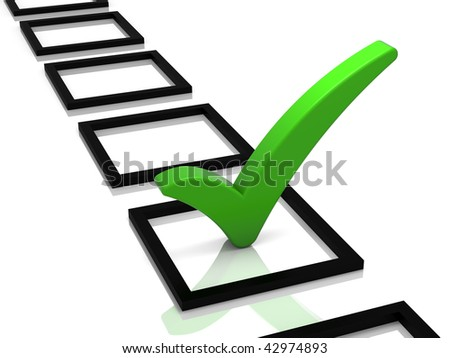 Check list with green check mark isolated on white. Part of a series.
