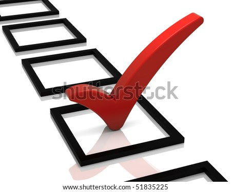 Check list with red check mark isolated on white. Part of a series. - stock photo