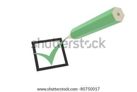 Check mark and a Green Pencil - stock photo