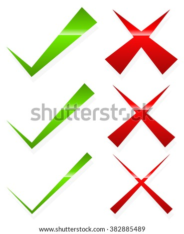 Check mark and cross set. Thin and thick version. - stock photo