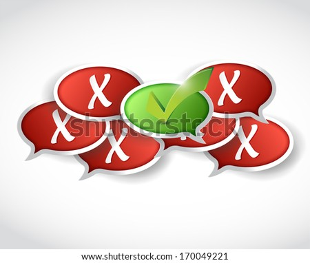 check mark and x marks behind. illustration design over a white background