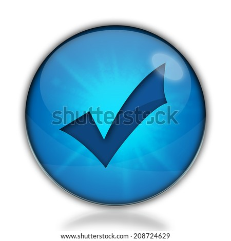 Check mark blue button isolated