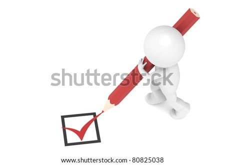 Check Mark. 3D Little Human Character and a Red Check Mark. - stock photo