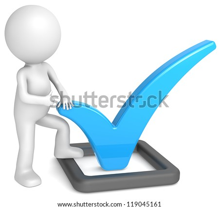 Check Mark. 3D little human character pointing at a Check Mark. Blue and matte black.People series. - stock photo