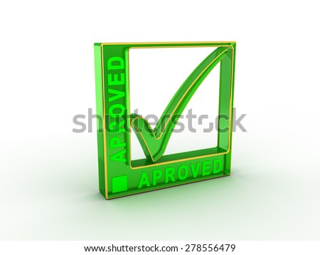 Check  mark icon in rectangle with APROVED word - stock photo