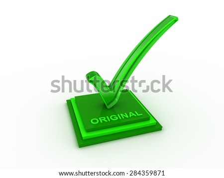 Check  mark icon on rectangle with ORIGINAL word - stock photo