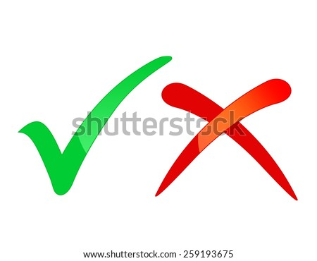 Check mark icons tick and cross / right & wrong isolated on white background - stock photo