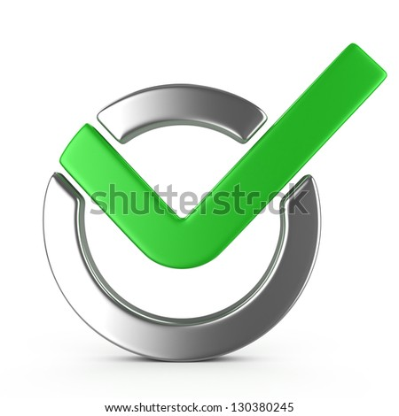 Check mark , isolated on white - stock photo