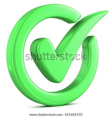 Check mark isolated on white. 3D illustration