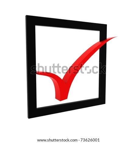 check mark, Red 3D tick - stock photo