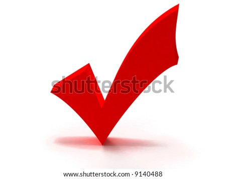 check mark, Red 3D tick turning wrong into right,  can be used as a symbol of approval, yes, choice... - stock photo