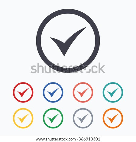 Check mark sign icon. Yes circle symbol. Confirm approved. Colored flat icons on white background. - stock photo