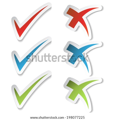 check mark stickers, buttons, yes and no symbol