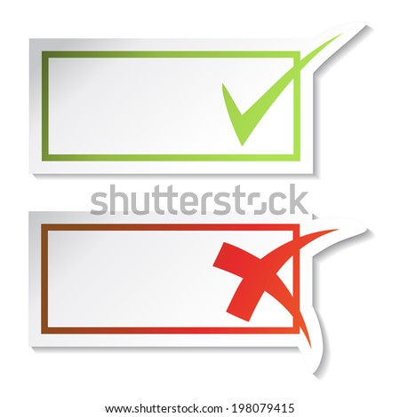 check mark stickers for text, yes and no button - stock photo