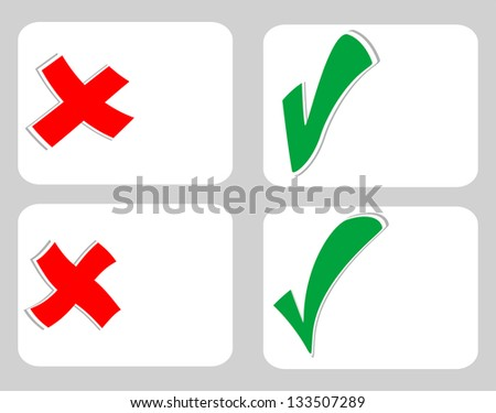 Check mark stickers set on blank white card, raster - stock photo