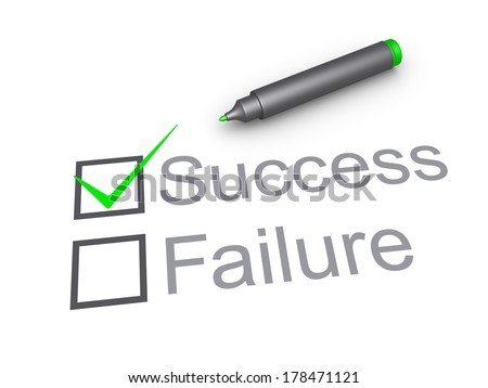 Check mark symbol in the box of success and a marker