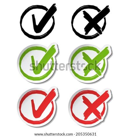 check mark symbols, circular buttons - stock photo