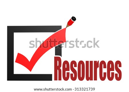 Check mark with resources word image with hi-res rendered artwork that could be used for any graphic design. - stock photo