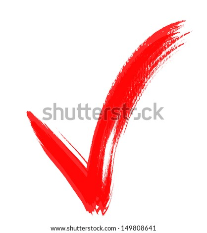 Check Marks painted with a brush, isolated on white - stock photo