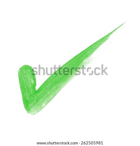 Check Marks painted with a brush with clipping patch - stock photo