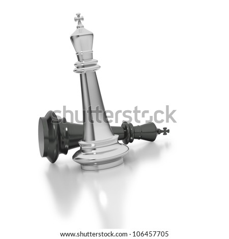 Check mate chess pieces with white over black king - stock photo