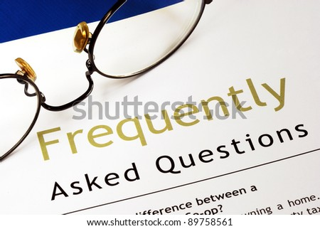 Check out the Frequently Asked Questions (FAQ) section - stock photo
