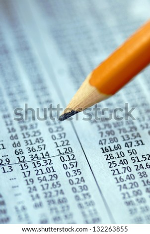 Check out the stock prices - stock photo