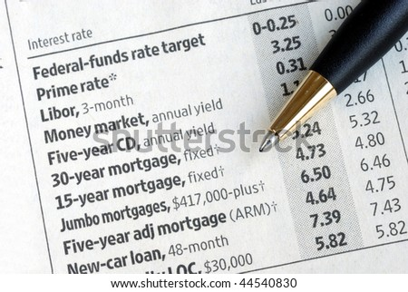 Check out various interest rates from the newspaper - stock photo