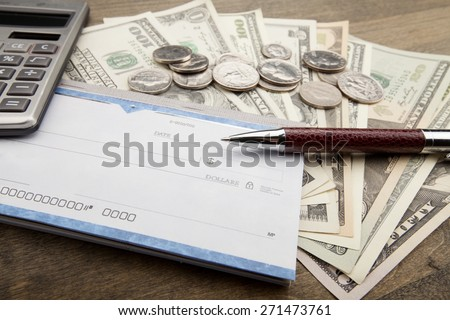 Check, Paycheck, Bank Account. - stock photo