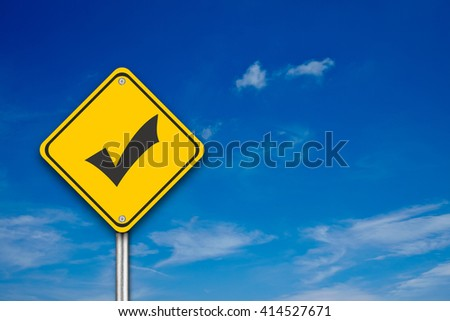 Check Sign on blue background