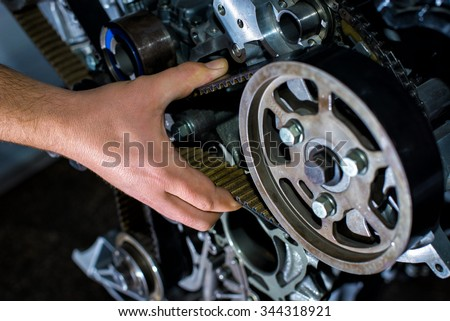 Check the timing belt - stock photo