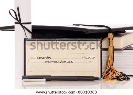 Check with College Tuition Payment - stock photo