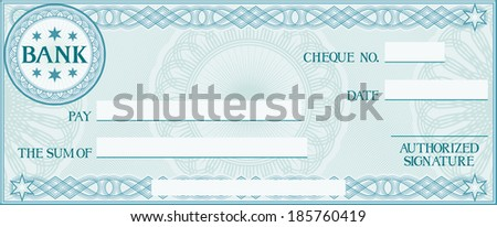 check with space for your own text (bank cheque, bank cheque blank for your business, blank check, blue business check) - stock photo