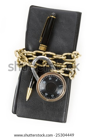 Checkbook and Chain, concept of Recession or Safety - stock photo
