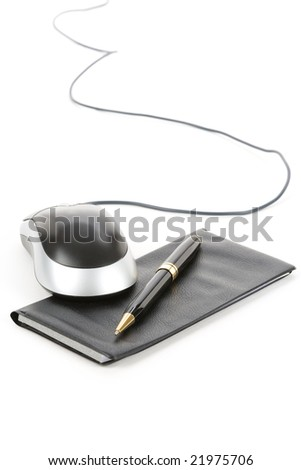 Checkbook and computer mouse with white background - stock photo