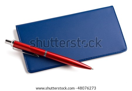 checkbook and pen on white background. - stock photo