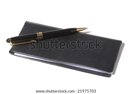 Checkbook and pen with white background - stock photo