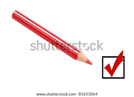 Checkbox and red pencil isolated on white - stock photo