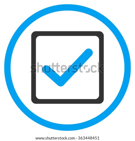 Checkbox glyph icon. Style is bicolor flat symbol, blue and gray colors, rounded angles, white background. - stock photo