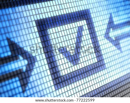 Checkbox on screen Full collection of icons like that is in my portfolio - stock photo