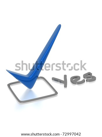 Checkbox with blue checkmark isolated on white - stock photo