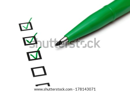 Checkbox with green tick - stock photo