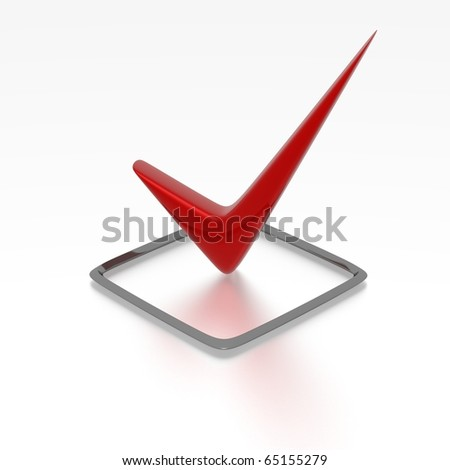 Checkbox with red checkmark isolated on white - stock photo