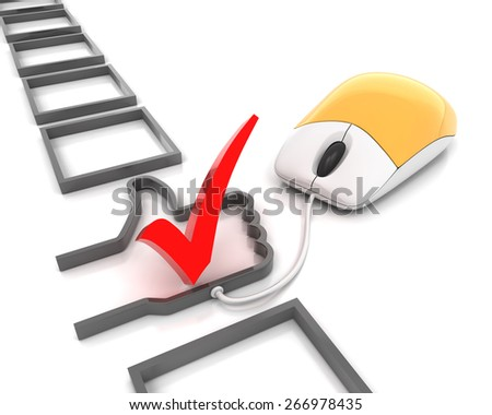 Checkbox with thumb up shape connected to a mouse, 3d render - stock photo