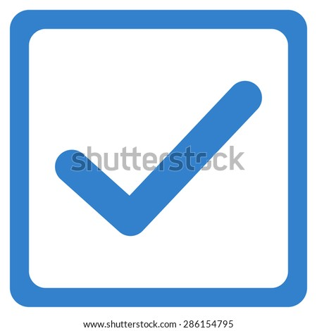 Checked checkbox icon from Business Bicolor Set. This flat glyph symbol uses cobalt color, rounded angles, and isolated on a white background. - stock photo