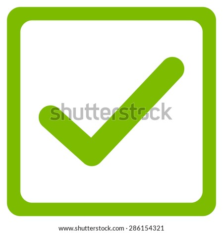 Checked checkbox icon from Business Bicolor Set. This flat glyph symbol uses eco green color, rounded angles, and isolated on a white background. - stock photo