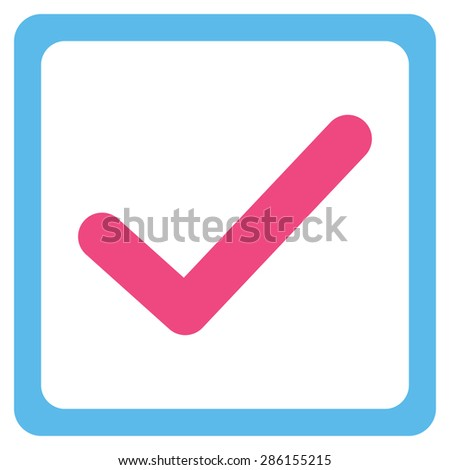 Checked checkbox icon from Business Bicolor Set. This flat glyph symbol uses pink and blue colors, rounded angles, and isolated on a white background. - stock photo